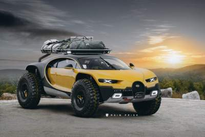 В Сети показали Bugatti Chiron, переделанный во внедорожник